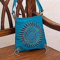 Leather sling, 'Lively Spiral in Turquoise' - Handcrafted Suede Sling in Turquoise from Peru