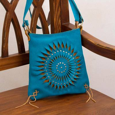 Suede sling bag, 'Lively Spiral in Turquoise' - Handcrafted Suede Sling in Turquoise from Peru
