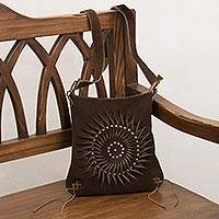 Leather sling, 'Lively Spiral in Coffee' - Handcrafted Suede Sling in Coffee from Peru