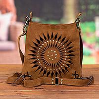 Suede sling, 'Lively Spiral in Caramel' - Handcrafted Suede Sling in Caramel from Peru