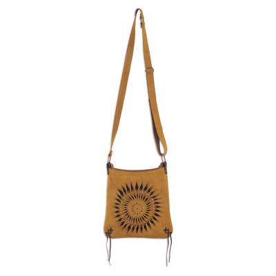 Handcrafted Suede Sling in Caramel from Peru