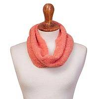 Alpaca blend infinity scarf, 'Lovely Charm in Peach' - Handwoven Alpaca Blend Infinity Scarf in Peach from Peru