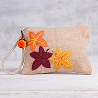Wool wristlet, 'Autumnal Companion' - Leaf-Themed Handwoven Wool Wristlet from Peru