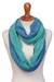 Alpaca blend infinity scarf, 'Oceanic Style' - Alpaca Blend Infinity Scarf in Mint and Cyan from Peru thumbail