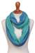 Alpaca blend infinity scarf, 'Oceanic Style' - Alpaca Blend Infinity Scarf in Mint and Cyan from Peru (image 2a) thumbail