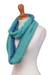 Alpaca blend infinity scarf, 'Oceanic Style' - Alpaca Blend Infinity Scarf in Mint and Cyan from Peru (image 2b) thumbail