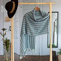 100% baby alpaca shawl, 'Striped Lagoon' - Handwoven Striped Baby Alpaca Shawl in Blue from Peru