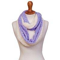 Alpaca blend infinity scarf, 'Light Style' - Alpaca Blend Infinity Scarf in Wisteria and Linen from Peru