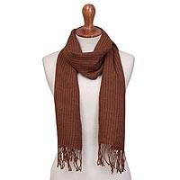 100% baby alpaca scarf, 'Color of Leaves' - Baby Alpaca Wrap Scarf in Coffee and Ginger from Peru