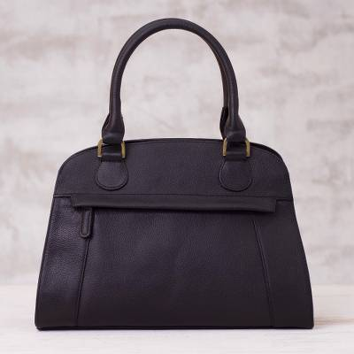 Leather handle handbag, 'Black Glamour' - Handcrafted Leather Handle Handbag in Black from Peru