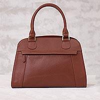 Leather handle handbag, 'Russet Glamour' - Handcrafted Leather Handle Handbag in Russet from Peru