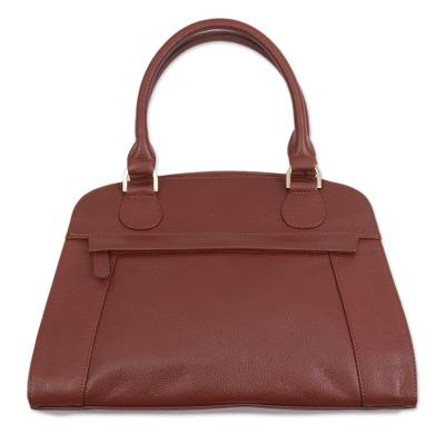 Handcrafted Leather Handle Handbag in Russet from Peru