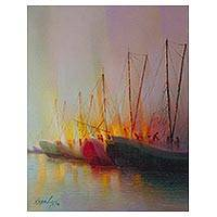 'Fishing at Sunset' - Signed Realist Painting of Fishing Boats from Peru