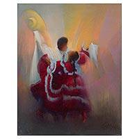 'Peruvian Rhythm' - Signed Expressionist Painting of a Dancing Couple from Peru