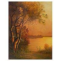 'Brilliant Amazon' - Signed Realist Sunset Landscape Painting from Peru