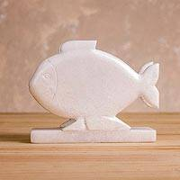 Huamanga stone napkin holder, 'Oceanic Enchantment' - Fish-Shaped Huamanga Stone Napkin Holder from Peru