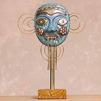 Copper and bronze mask, 'Greetings' - Oxidized Copper Decorative Face Mask with Flowers Statuette