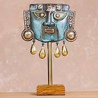 Copper and bronze mask, 'Reverent' - Oxidized Copper Decorative Funeral Mask Statuette