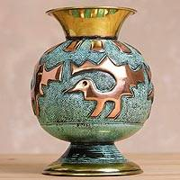 Copper and bronze decorative vase, 'Ceremonial Splendor' - Artisan Crafted Copper and Bronze Decorative Vase from Peru