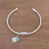 Amazonite and sterling silver charm cuff bracelet, 'Fortune Smiles in Amazonite' - Sterling Silver Clover Charm Amazonite Bead Cuff Bracelet