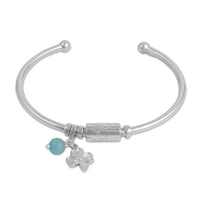 Sterling Silver Clover Cuff Charm Bracelet with Amazonite