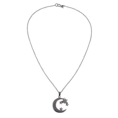 Sterling silver pendant necklace, 'Fairytale Night' - Sterling Silver Crescent Moon and Stars Pendant Necklace