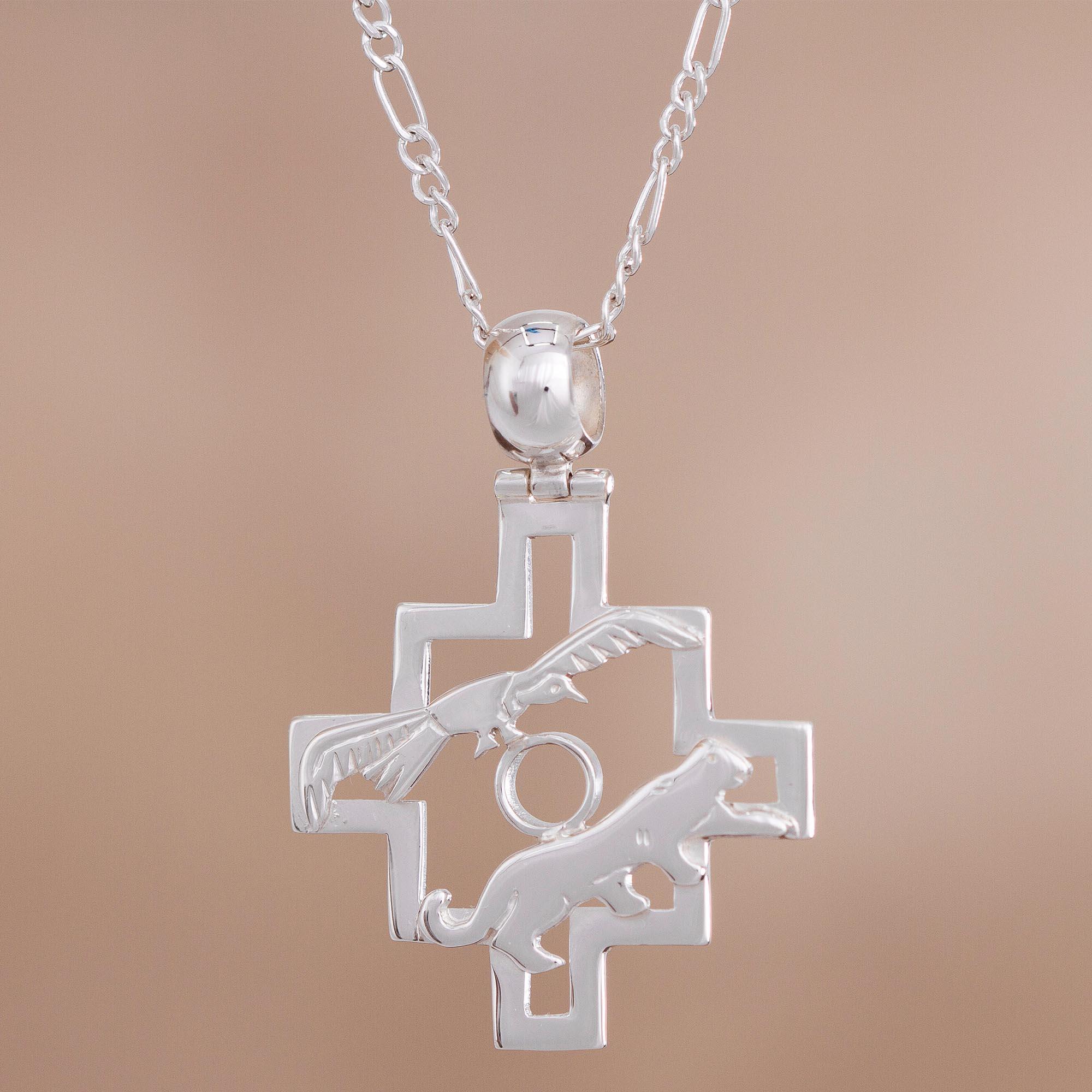 South American Inca Cross CERAMIC NECKLACE CHAKANA ..NEW DESIGN FROM PERU D