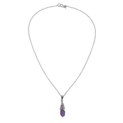 Amethyst and sterling silver pendant necklace, 'Amethyst Teardrop' - Amethyst and Sterling Silver Teardrop Pendant Necklace