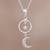 Sterling silver pendant necklace, 'Celestial Cascade' - Sterling Silver Crescent Moon and Star Pendant Necklace (image 2) thumbail