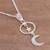 Sterling silver pendant necklace, 'Celestial Cascade' - Sterling Silver Crescent Moon and Star Pendant Necklace (image 2b) thumbail
