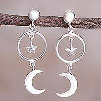 Sterling silver dangle earrings, 'Celestial Cascade' - Sterling Silver Crescent Moon and Star Dangle Earrings