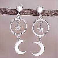 Sterling silver dangle earrings, 'Celestial Cascade'
