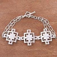 Sterling silver pendant link bracelet, 'Dazzling Inca Cross' - Chakana Inca Cross Sterling Silver Pendant Link Bracelet