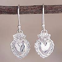 Sterling silver dangle earrings, 'Miraculous Heart' - Religious Heart Sterling Silver Dangle Earrings from Peru