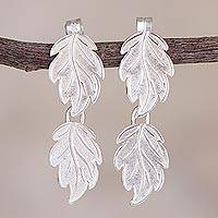 Sterling silver dangle earrings, 'Leafy Dream' - Leafy Sterling Silver Dangle Earrings from Peru