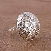 Sterling silver cocktail ring, 'Inca Dome' - Dome-Shaped Inca Motif Sterling Silver Ring from Peru