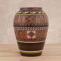 Ceramic decorative vase, 'Secrets of Ollantaytambo' - Inca Motif Ceramic Decorative Vase from Peru