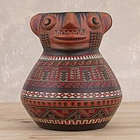 Ceramic decorative vessel, 'Ancestral Inca' - Cultural Hand-Painted Ceramic Decorative Vessel from Peru
