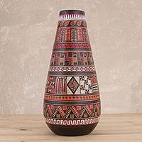 Ceramic decorative vase, 'Inca Temple' - Artisan Crafted Ceramic Decorative Vase from Peru