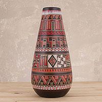 Ceramic decorative vase, 'Inca Temple' - Artisan Crafted Ceramic Decorative Vase from Peru