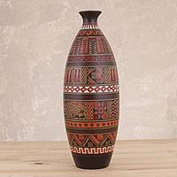 Ceramic decorative vase, 'Inca Night' - Geometric Motif Ceramic Decorative Vase from Peru