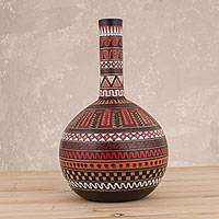 Ceramic decorative vase, 'Ceremonial Rites' - Hand-Painted Ceramic Decorative Vase from Peru