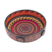 Ceramic decorative bowl, 'Ancestral Chakana' - Handcrafted Ceramic Decorative Bowl from Peru