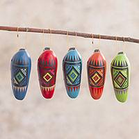 Ceramic ornaments, 'Festive Ocarinas' (set of 5) - Five Hand-Painted Ocarina-Shaped Ceramic Ornaments from Peru