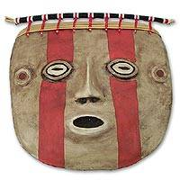 Recycled paper mask, 'Wari Culture' - Collectible Archaeological Recycled Paper Mask
