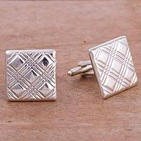 Sterling silver cufflinks, 'Stylish Pattern' - Square Patterned Sterling Silver Cufflinks from Peru
