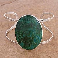 Chrysocolla pendant bracelet, 'Stunning Elegance' - Chrysocolla and Silver Pendant Bracelet from Peru