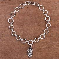 Sterling silver link bracelet, 'Miracle of Love' - Religious Sterling Silver Link Bracelet from Peru
