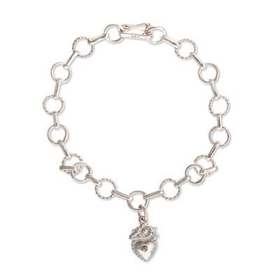 Sterling silver link bracelet, 'Divine Heart' - Religious Sterling Silver Heart Link Bracelet from Peru
