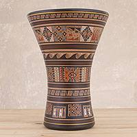 Ceramic decorative vase, 'Sacred Kero' - Traditional Inca-Style Ceramic Decorative Vase from Peru